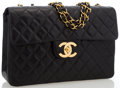 """Luxury Accessories:Accessories, Chanel Black Quilted Lambskin Leather Maxi Single Flap Bag. Very Good to Excellent Condition. 13"""" Width x 9"""" Height x ..."""
