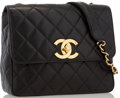 "Luxury Accessories:Accessories, Chanel Black Quilted Lambskin Leather Flap Bag with Gold ToneHardware. Good to Very Good Condition. 10"" Width x 8""He..."