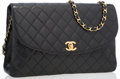 "Luxury Accessories:Accessories, Chanel Black Quilted Lambskin Leather Single Flap Bag. GoodCondition. 11.25"" Width x 7"" Height x 2"" Depth, 15""Sh..."