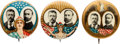 Political:Pinback Buttons (1896-present), Roosevelt and Fairbanks: Three Colorful 1 ¼-inch 1904 Jugates in Premium Condition.... (Total: 3 Items)