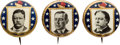 Political:Pinback Buttons (1896-present), TR, Wilson and Taft: A Set of Three Colorful 7/8-inch 1912 Designs.... (Total: 3 Items)