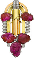 Estate Jewelry:Brooches - Pins, Art Deco Ruby, Diamond, Platinum, Gold Brooch. ...