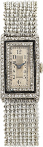 Estate Jewelry:Watches, Art Deco Swiss Lady's Diamond, Black Onyx, Seed Pearl, Platinum,White Gold Wristwatch, French. ...