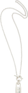 "Luxury Accessories:Accessories, Hermes Sterling Silver Kelly Cadena Necklace. ExcellentCondition. 15"" Length. ..."