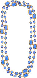 "Luxury Accessories:Accessories, Chanel Blue Crystal & Gold Sautoir Necklace. Excellent Condition. 0.5"" Width x 60"" Length . ..."
