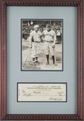 Baseball Collectibles:Others, 1930's-40's Babe Ruth & Jimmie Foxx Signed Display....