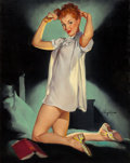 Pin-up and Glamour Art, GIL ELVGREN (American, 1914-1980). Rest Assured, Brown &Bigelow calendar illustration, 1952. Oil on canvas. 30 x 24in....