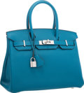 "Luxury Accessories:Bags, Hermes 30cm Blue Izmir Togo Leather Birkin Bag with PalladiumHardware. Pristine Condition . 12"" Width x 8"" Height x6..."