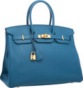 "Luxury Accessories:Bags, Hermes 35cm Blue de Galice Togo Leather Birkin Bag with GoldHardware. Excellent Condition. 14"" Width x 10"" Height x7..."