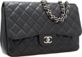 "Luxury Accessories:Bags, Chanel Black Quilted Caviar Leather Jumbo Single Flap Bag withSilver Hardware. Very Good to Excellent Condition .12""..."