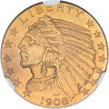 Proof Indian Half Eagles, 1908 $5 PR64 NGC. CAC....