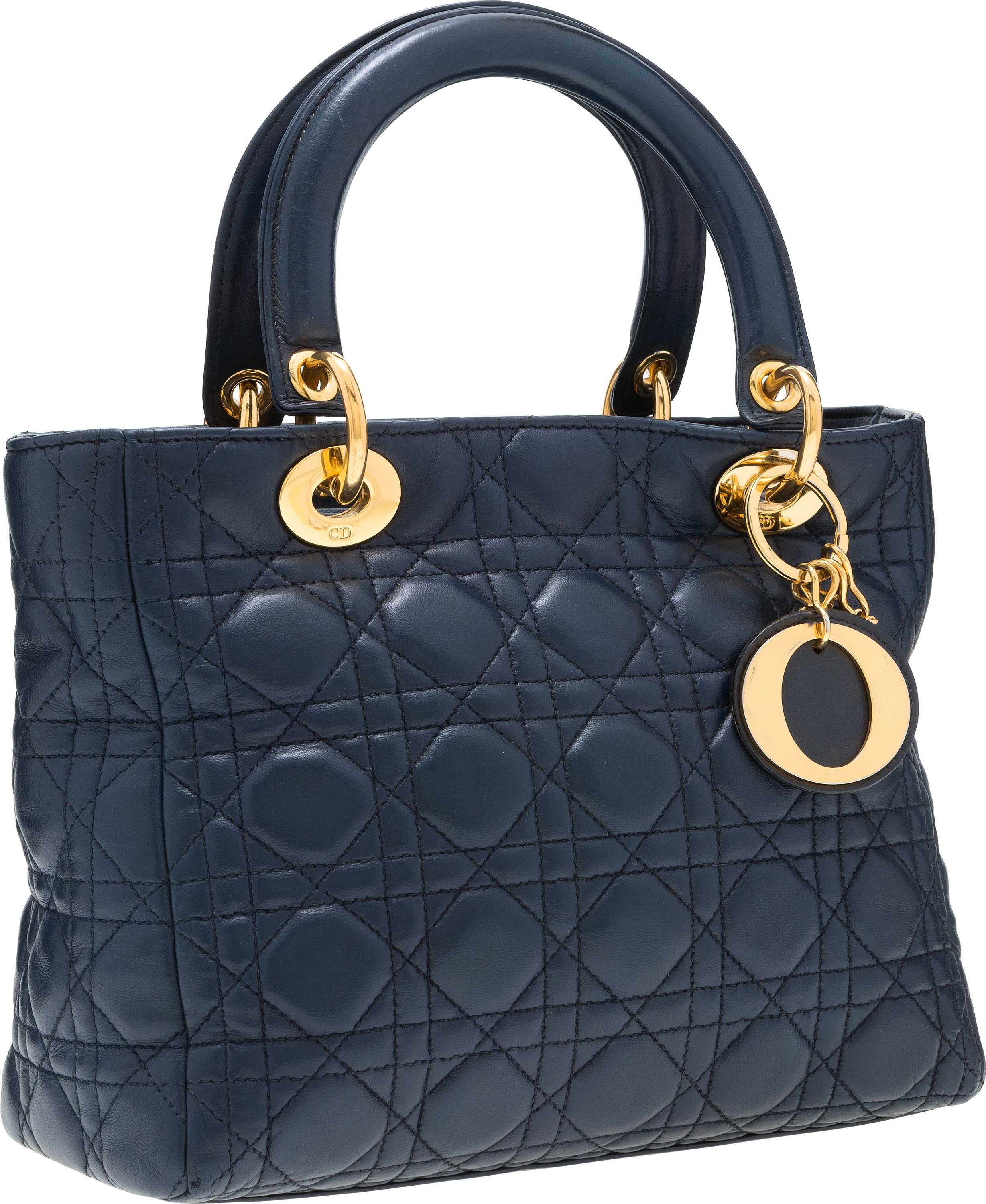 2606df72eca Christian Dior Navy Blue Cannage Leather Lady Dior MM Tote Bag with | Lot  #58889 | Heritage Auctions