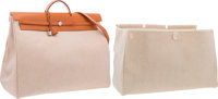Hermes Vache Naturelle Leather & Toile Herbag TGM Bag with Palladium Hardware Very Good to Excellent Condition&l...