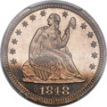 Proof Seated Quarters, 1848 25C PR65+ Cameo PCGS. Briggs 2-C....