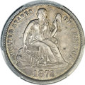 Seated Dimes, 1872-CC 10C XF45 PCGS. CAC....