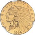 Proof Indian Quarter Eagles, 1914 $2 1/2 PR67+ NGC. CAC....