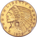 Proof Indian Quarter Eagles, 1909 $2 1/2 PR63 NGC. CAC....