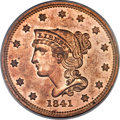 Proof Large Cents, 1841 1C N-1, R.5, PR64 Red PCGS....