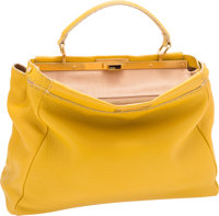 """Fendi Yellow Leather Peekaboo Large Bag with Gold Hardware Excellent Condition 15.5"""" Width x 12"""""""