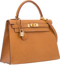 """Luxury Accessories:Bags, Hermes 28cm Natural Peau Porc Leather Sellier Kelly Bag with Gold Hardware. Good Condition. 11"""" Width x 8"""" Height x 4""""..."""