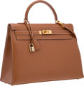 """Luxury Accessories:Bags, Hermes 35cm Natural Courchevel Leather Sellier Kelly Bag with Gold Hardware. Very Good Condition. 14"""" Width x 10"""" Heig..."""