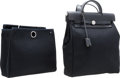 """Luxury Accessories:Bags, Hermes Black Vache Leather & Canvas Herbag A Dos Backpack Bag.Very Good Condition. 11"""" Width x 12.5"""" Height x 4""""Dept..."""