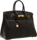 """Luxury Accessories:Bags, Hermes 35cm Black Calf Box Leather Birkin Bag with Gold Hardware. Very Good Condition. 14"""" Width x 10"""" Height x 7"""" Dep..."""