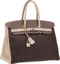 Luxury Accessories:Bags, Hermes Special Order 35cm Ecorce, Etoupe & Parchment ClemenceLeather Birkin Bag with Palladium Hardware. Very GoodCondit...