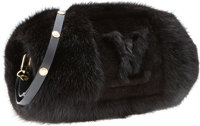 "Louis Vuitton Black Mink & Leather Muff Excellent Condition 9"" Width x 3"" Height x 3"" Depth</..."