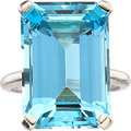 Estate Jewelry:Rings, Aquamarine, Platinum Ring. ...