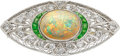 Estate Jewelry:Brooches - Pins, Edwardian Opal, Demantoid Garnet, Diamond, Platinum Brooch. ...