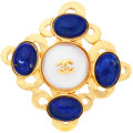 "Luxury Accessories:Accessories, Chanel Gold, Glass Pearl & Blue Gripoix CC Brooch . VeryGood Condition . 2"" Width x 2"" Height . ..."