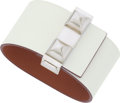 Luxury Accessories:Accessories, Hermes White Courchevel & Gold Swift Leather ImprevisbleReversible Bracelet with Palladium Hardware . ExcellentCondition...