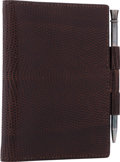 """Luxury Accessories:Accessories, Hermes Marron Fonce Lizard Vision Agenda PM Cover . Very Good to Excellent Condition. 3"""" Width x 4"""" Height. CITE..."""