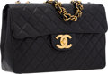 "Luxury Accessories:Bags, Chanel Black Quilted Lambskin Leather Maxi Single Flap Bag withGold Hardware. Good to Very Good Condition. 13"" Width..."