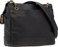 "Luxury Accessories:Bags, Chanel Black Caviar Leather Shoulder Bag with Gold Hardware .Good to Very Good Condition . 10.5"" Width x 9"" Height x..."