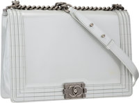 Chanel Silver Patent Leather Large Boy Bag with Antiqued Silver Hardware Very Good Condition 12