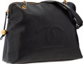 """Luxury Accessories:Bags, Chanel Black Caviar Leather Large CC Tote Bag with Gold Hardware.Very Good Condition . 16"""" Width x 13"""" Height x 6""""De..."""