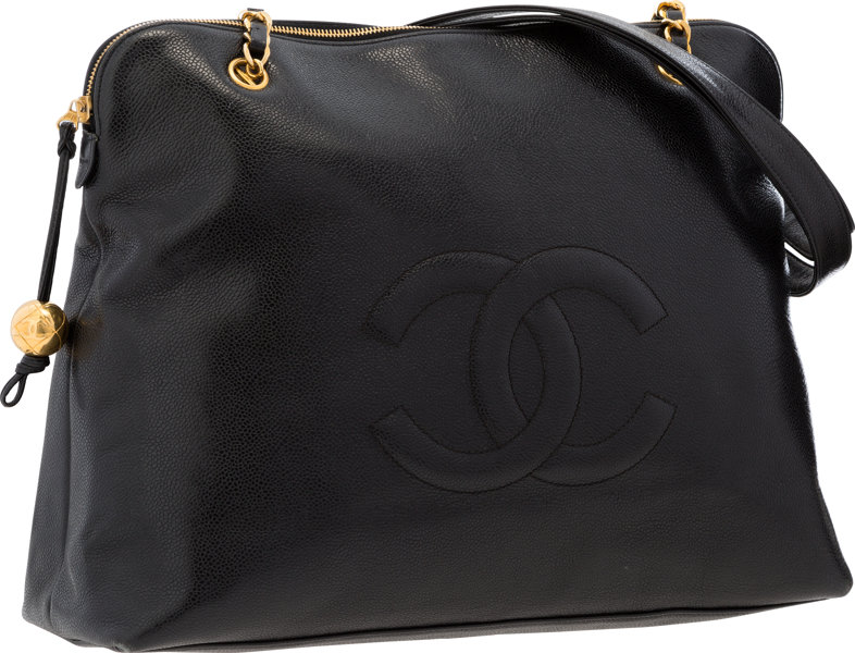 Chanel Black Caviar Leather Large CC Tote Bag with Gold  cf75b9189523f
