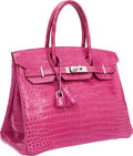 "Luxury Accessories:Bags, Hermes 30cm Shiny Fuchsia Porosus Crocodile Birkin Bag withPalladium Hardware. Very Good Condition. 12"" Width x 8""He..."