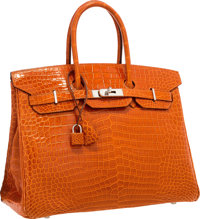 Hermes 35cm Shiny Orange H Porosus Crocodile Birkin Bag with Palladium Hardware Very Good Condition