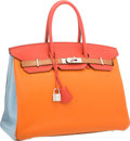 Luxury Accessories:Bags, Hermes Limited Edition 35cm Orange H, Blue Lin, Blue Hydra, Etain,Gold & Sanguine Clemence Leather Harlequin Birkin Bag with ...