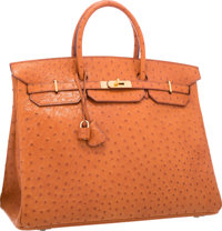 "Hermes 40cm Cognac Ostrich Birkin Bag with Gold Hardware Very Good Condition 15.5"" Width x 11"" He"