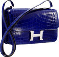 "Luxury Accessories:Bags, Hermes Shiny Blue Electric Nilo Crocodile Constance Elan Bag withPalladium Hardware. Very Good Condition. 10"" Widthx..."