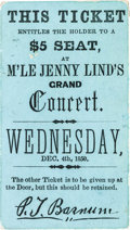 Advertising:Paper Items, P. T. Barnum: Ticket to Jenny Lind Concert....