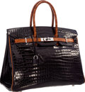Luxury Accessories:Bags, Hermes Limited Edition 35cm Shiny Black & Miel PorosusCrocodile Birkin Bag with Ruthenium Hardware. Very GoodCondition...