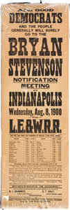 Political:Posters & Broadsides (1896-present), William Jennings Bryan: 1900 Notification Train Timetable Broadside. ...