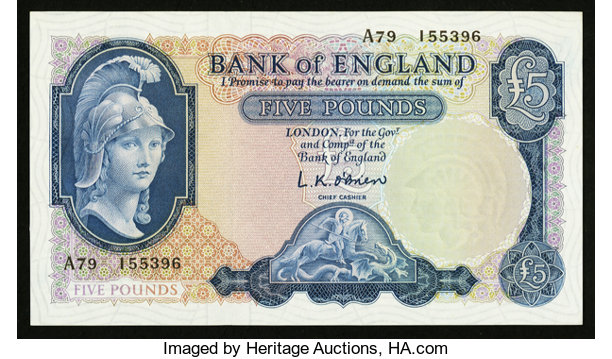 World Currency Great Britain Bank Of England 5 Nd 1957 61