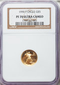 Modern Bullion Coins: , 1990-P G$5 Tenth-Ounce Gold Eagle PR70 Ultra Cameo NGC. NGC Census: (1325). PCGS Population (450). Mintage: 99,349. Numisme...