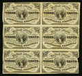 Fractional Currency:Third Issue, Fr. 1226 3¢ Third Issue Block of Six Fine.. ...